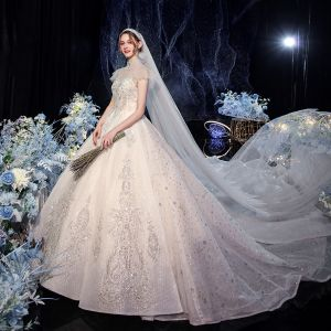 Luxury / Gorgeous Champagne Bridal Wedding Dresses 2020 Ball Gown See-through High Neck Sleeveless Backless Beading Sequins Glitter Tulle Royal Train Ruffle