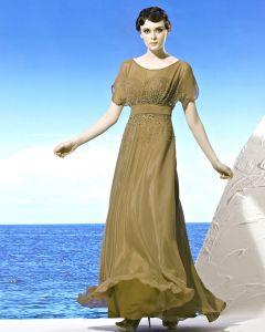 Encolure Ronde Petale Manche De Longueur De Plancher En Mousseline De Soie Perles Empire De Robe De Soirée De Femme
