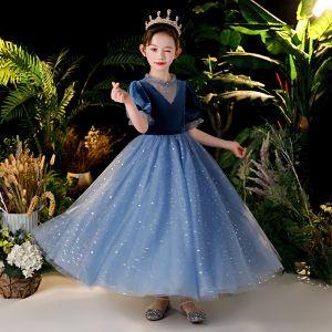 Hermoso Marino Oscuro Terciopelo Cumpleaños Vestidos para niñas 2020 Ball Gown Transparentes Scoop Escote Hinchado Manga Corta Lentejuelas Glitter Tul Largos Ruffle