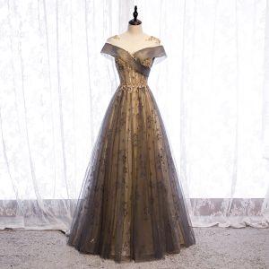 Elegant Champagne Evening Dresses  2020 A-Line / Princess Scoop Neck Beading Sequins Lace Flower Short Sleeve Backless Floor-Length / Long Formal Dresses