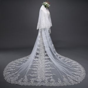 Luxury / Gorgeous White Wedding Veils 2017 Tulle Lace Appliques Embroidered Wedding