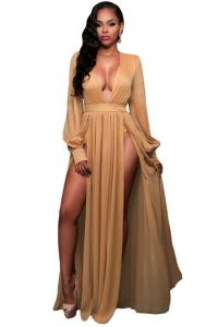 Sexy Summer Khaki Maxi Dresses 2018 V-Neck Long Sleeve Floor-Length / Long Womens Clothing
