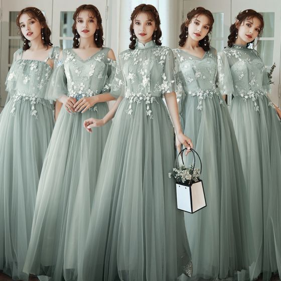 Affordable Sage Green Bridesmaid Dresses 2020 A-Line / Princess Appliques Lace Backless Floor-Length / Long