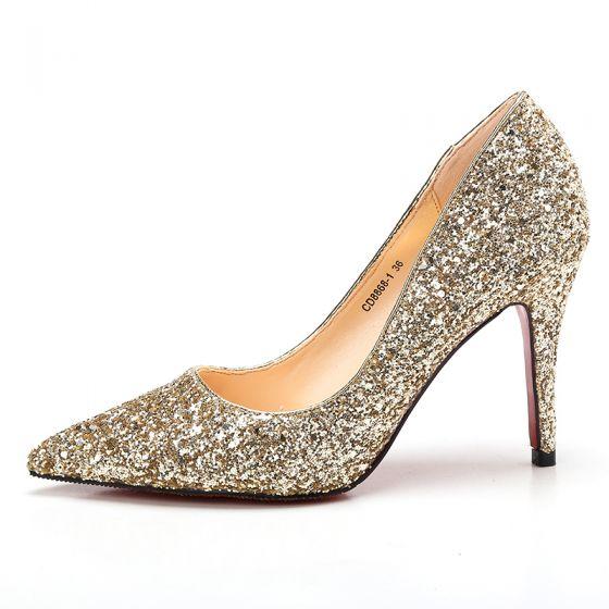 Scintillantes Champagne Chaussure De Mariée 2017 Glitter Cuir À Bout Pointu Talons Aiguilles Escarpins