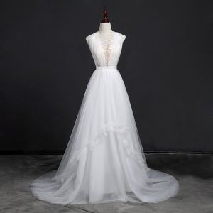 Elegant White Beach See-through Wedding Dresses 2018 A-Line / Princess Scoop Neck Sleeveless Backless Pearl Covered Button Appliques Lace Sash Ruffle Court Train