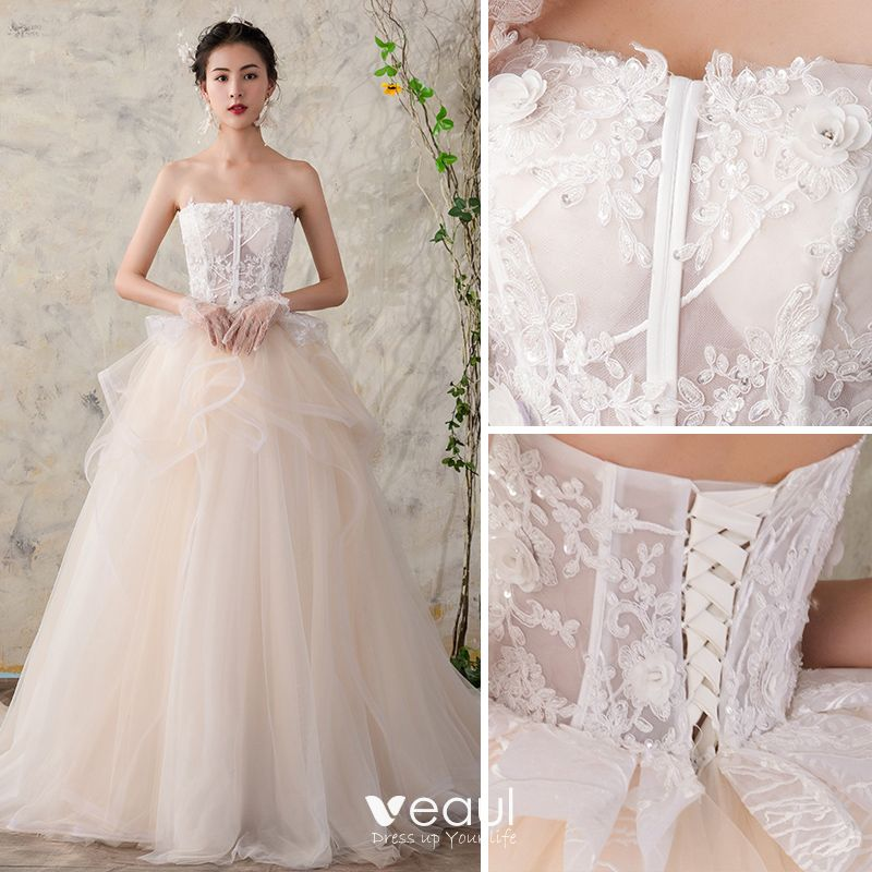 Chic Beautiful Champagne Wedding Dresses 2018 Ball Gown Lace Sequins Organza Cascading Ruffles Strapless Sleeveless Backless Cathedral Train Wedding