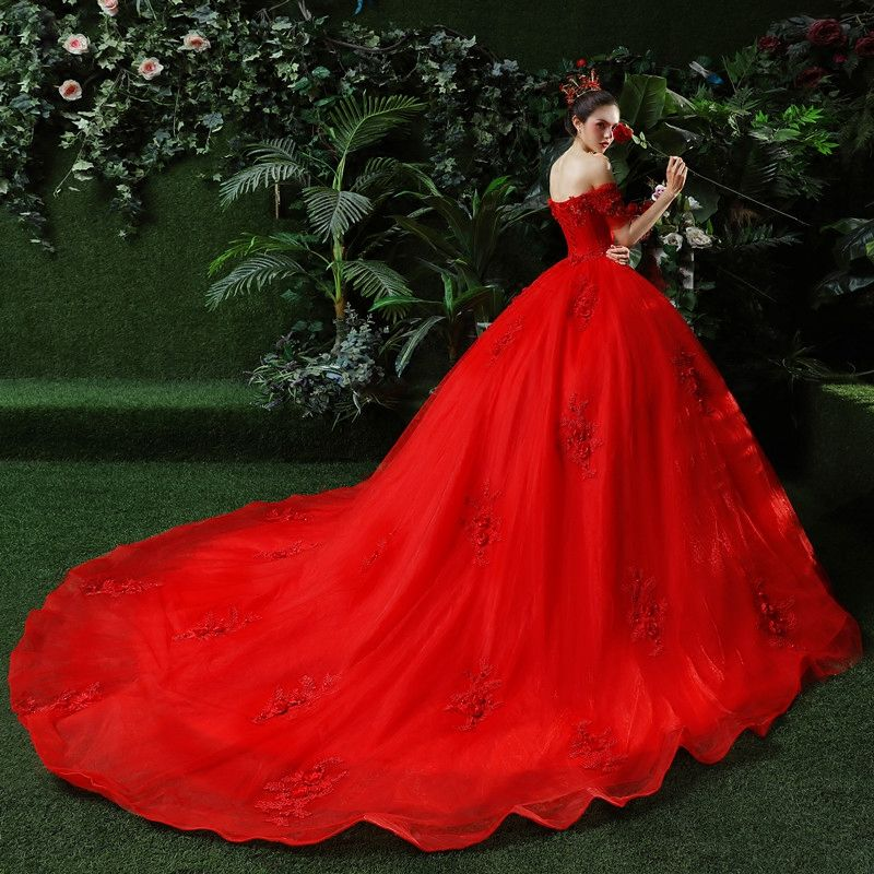Chic / Beautiful Red Wedding Dresses 2018 Ball Gown Appliques Beading Sequins Off-The-Shoulder Backless Sleeveless Cathedral Train Wedding