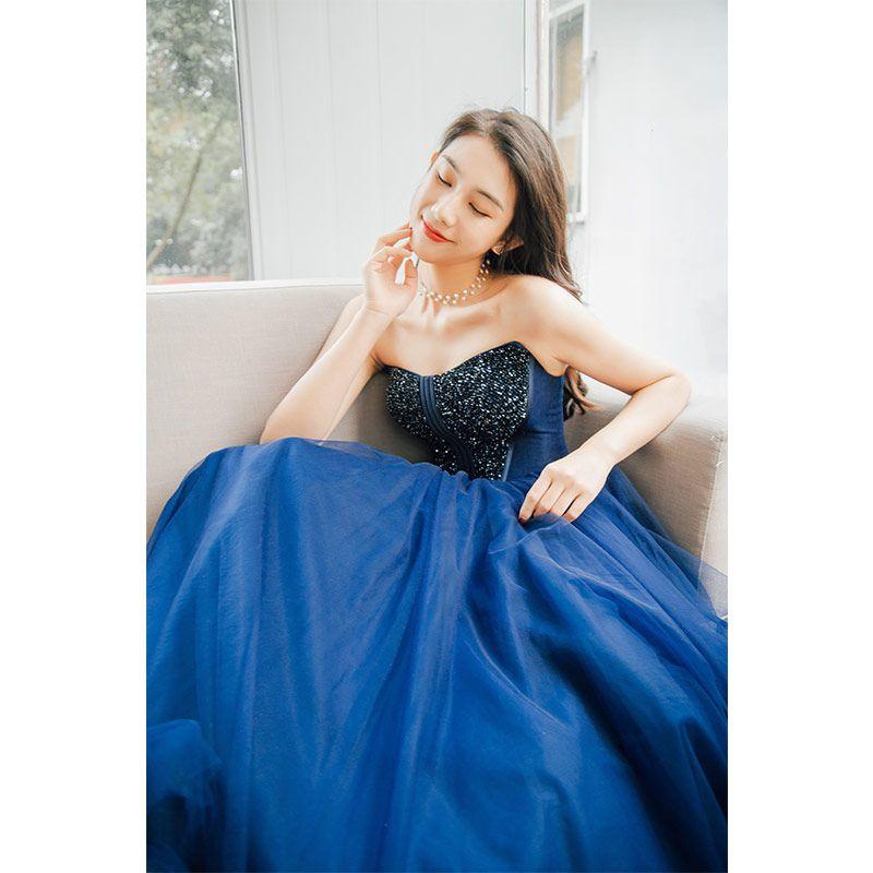 Classy Navy Blue Prom Dresses 2019 Princess Amazing / Unique Strapless Sleeveless Beading Floor-Length / Long Ruffle Backless Formal Dresses