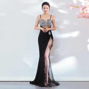 Seksowne Czarne Sukienki Wieczorowe 2018 Syrena / Rozkloszowane Cekiny Spaghetti Pasy Bez Pleców Bez Rękawów Długie Sukienki Wizytowe