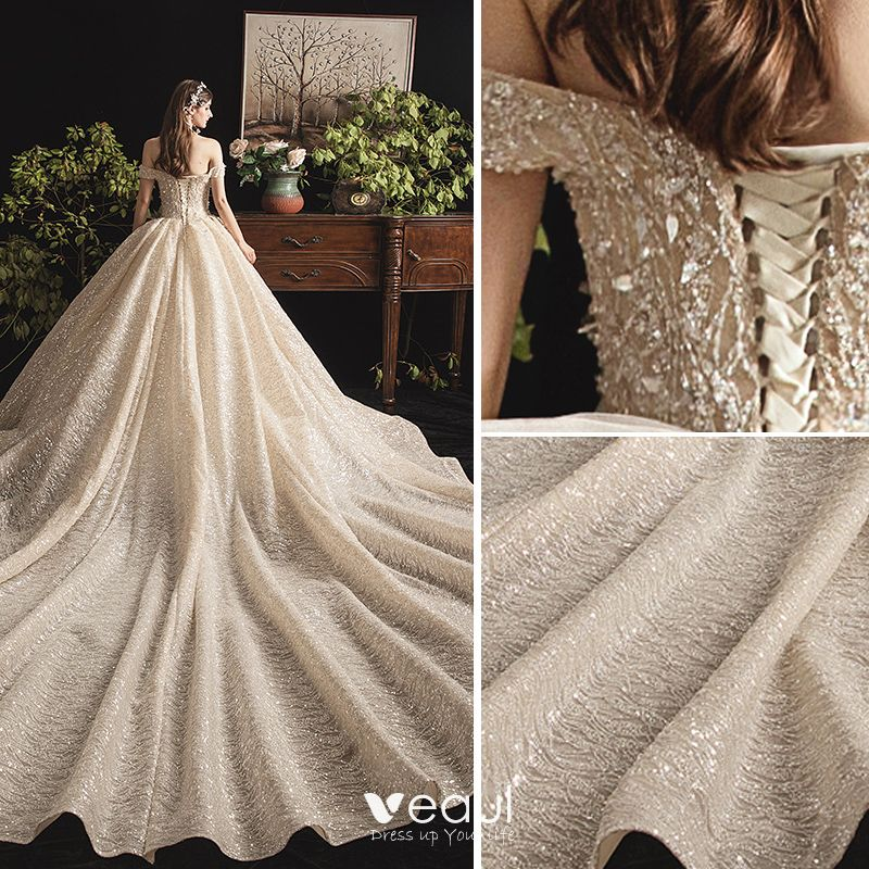 Charming Champagne Wedding Dresses 2019 A-Line / Princess Off-The-Shoulder Beading Sequins Lace Flower Sleeveless Backless Cathedral Train