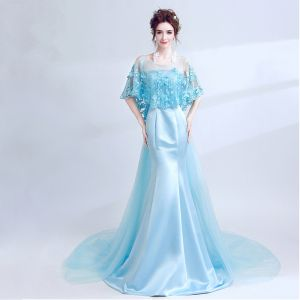 Classic Elegant Sky Blue Evening Dresses  2018 Trumpet / Mermaid U-Neck Charmeuse Butterfly Backless Embroidered Evening Party Formal Dresses