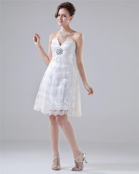 V Neck Stain Beading Ruffles Lace Knee High Wedding Dress