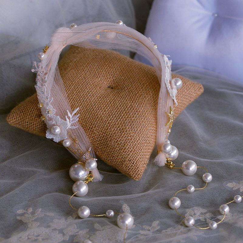 Chic / Beautiful Blushing Pink Headbands Bridal Hair Accessories 2020 Tulle Appliques Lace Pearl Tassel Headpieces Wedding Accessories