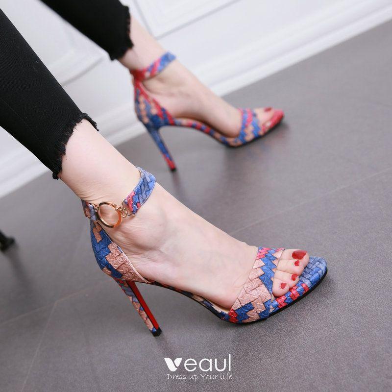 Modern / Fashion Multi-Colors Evening Party Pumps 2017 PU Braid High Heel Open / Peep Toe