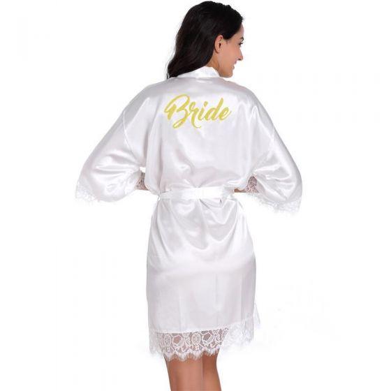 Modest / Simple White Wedding Bridal V-Neck 3/4 Sleeve Lace Silk Robes 2020 Sash Glitter Printing