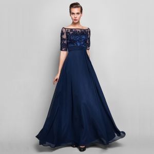 Luxury / Gorgeous Navy Blue Evening Dresses  2020 1/2 Sleeves A-Line / Princess Floor-Length / Long See-through Backless Beading Embroidered Evening Party Formal Dresses