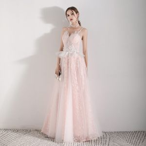 Romantic Pearl Pink Evening Dresses  2019 A-Line / Princess Spaghetti Straps Sleeveless Appliques Flower Pearl Beading Tassel Floor-Length / Long Ruffle Backless Formal Dresses