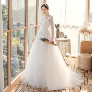 Affordable White Bridal Wedding Dresses 2020 A-Line / Princess V-Neck 1/2 Sleeves Backless Appliques Lace Beading Sweep Train Ruffle