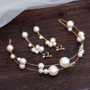 Chic / Beautiful Gold Bridal Jewelry 2020 Metal Pearl Hair Hoop Tassel Earrings Bridal Hair Accessories