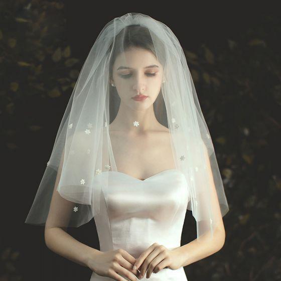 Mooie / Prachtige Witte Korte Bruidssluier 2020 Tule Appliques Huwelijk
