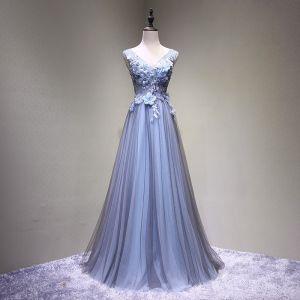 Chic / Belle Noire Bleu Ciel Robe De Bal 2017 Princesse V-Cou Sans Manches Bretelles croisées Appliques Fleur Dos Nu Perlage Longue Robe De Ceremonie
