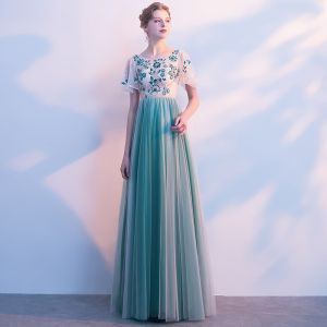 Chic / Beautiful Jade Green Prom Dresses 2017 A-Line / Princess Appliques Beading Scoop Neck Short Sleeve Floor-Length / Long Formal Dresses