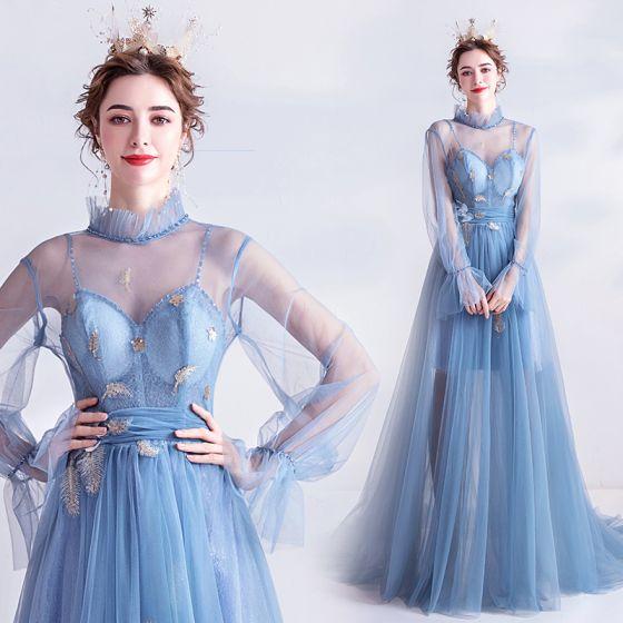 Vintage Himmelsblå Aftonklänningar 2020 Prinsessa Hög Hals Appliqués Kristall Spets Blomma Rhinestone Paljetter Långärmad Halterneck Svep Tåg Formella Klänningar