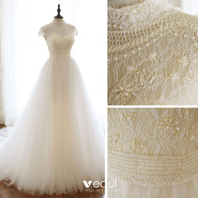 Chic / Beautiful Champagne Lace Wedding Dresses 2020 A-Line / Princess High Neck Cap Sleeves Backless Beading Pearl Chapel Train Ruffle