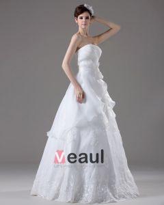 Trägerloses Stickerei-bördelnde Gefaltete Stock Länge Garn-ballkleid-hochzeitskleid