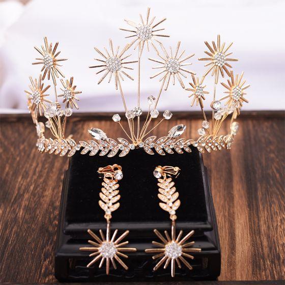 Unique Gold Blatt Tiara Ohrringe Brautschmuck 2019 Metall Kristall Strass Brautaccessoires