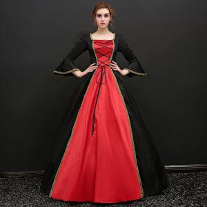 Vintage / Originale Noire Longue Robe Boule Robe De Bal 2018 U-Cou En Dentelle Bretelles croisées Dos Nu Lanières Promo Robe De Ceremonie