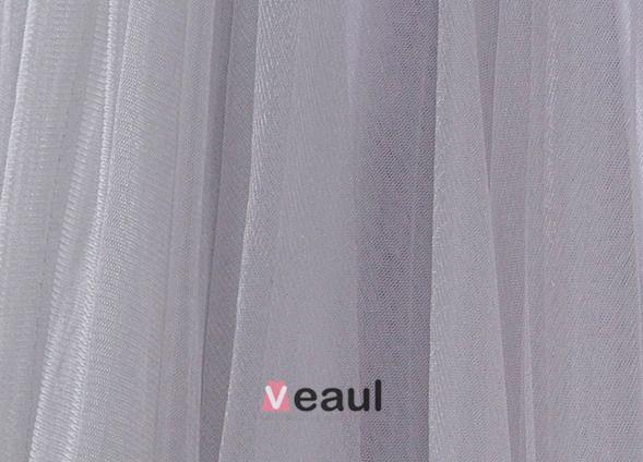 2015 A-linie Ärmel Bestickter Spitze Tüll Abiballkleid Abschlussballkleider