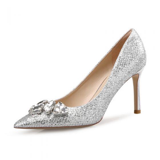 Glitter Zilveren Bruidsschoenen 2018 Rhinestone Pailletten Leer 8 cm Naaldhakken / Stiletto Spitse Neus Huwelijk Pumps