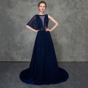 Moderne / Mode Bleu Roi Robe De Soirée Détachable Avec Châle 2018 Princesse Transparentes Encolure Dégagée Sans Manches Perlage Tribunal Train Volants Robe De Ceremonie