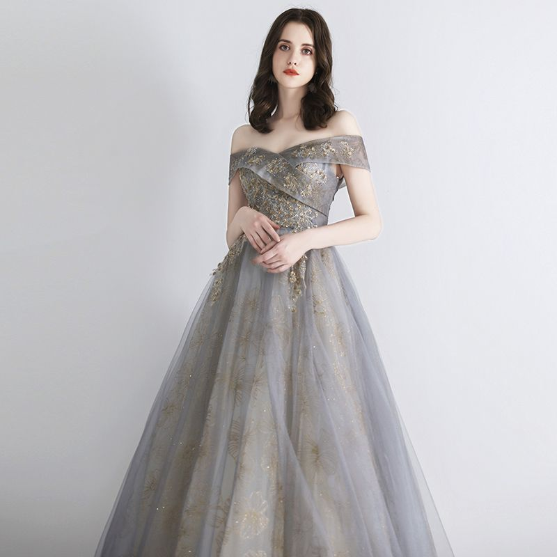 Elegant Grey Gold Evening Dresses  2019 A-Line / Princess Off-The-Shoulder Short Sleeve Sequins Beading Glitter Tulle Floor-Length / Long Ruffle Backless Formal Dresses