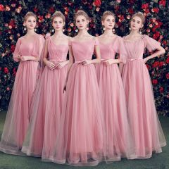Elegant Candy Pink Bridesmaid Dresses 2019 A-Line / Princess Spotted Tulle Bow Sash Floor-Length / Long Ruffle Backless Wedding Party Dresses