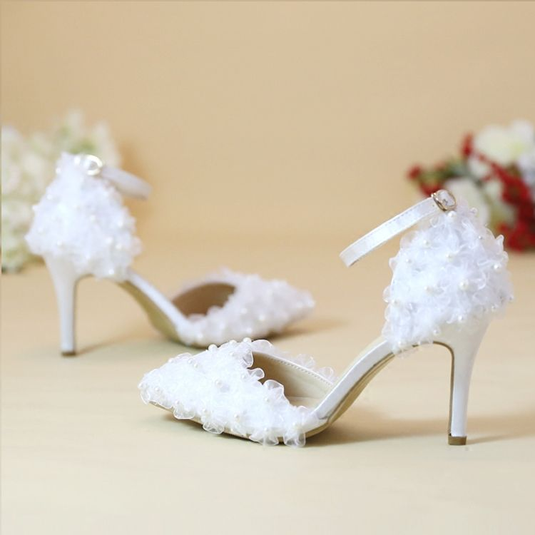 Chic / Beautiful 2017 8 cm / 3 inch Champagne White Casual Church Outdoor / Garden PU Champagne Lace Pearl High Heels Stiletto Heels Pumps Wedding Shoes