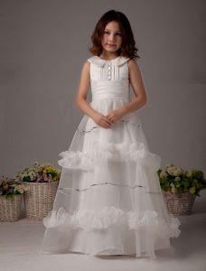 Fantastic White Satin Flower Girl Dress