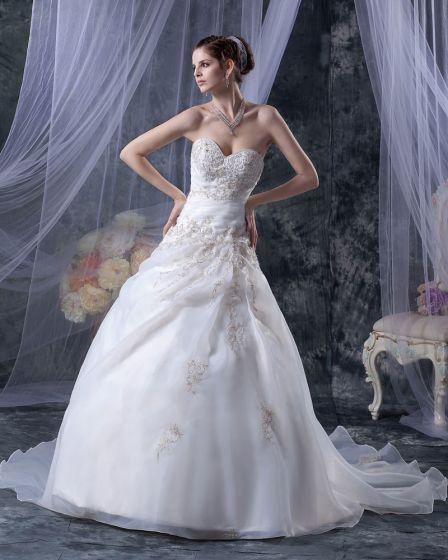 Elegant Alskling Organza Satin Profilerade Broderi A-linje Golv Langd Brudklänningar Bröllopsklänningar