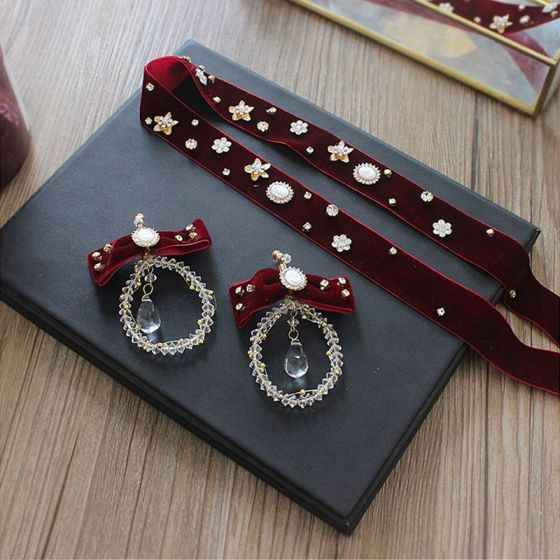 Fashion Burgundy Velour Headbands Accessories 2020 Crystal Rhinestone Earrings Headpieces