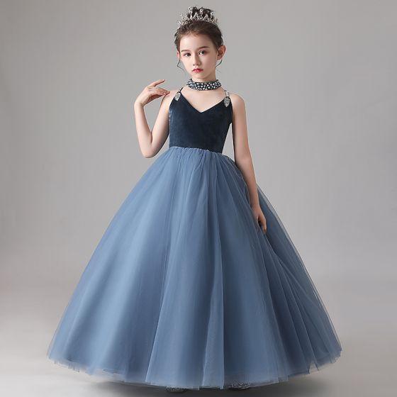 Fashion Navy Blue Birthday Flower Girl Dresses 2020 Ball Gown Spaghetti Straps Sleeveless Backless Sequins Beading Floor-Length / Long Ruffle