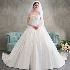 Elegant Champagne Wedding Dresses 2018 Ball Gown Strapless Backless Sleeveless Chapel Train Wedding