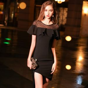 Proste / Simple Czarne Przezroczyste Strona Sukienka 2019 Wycięciem Kótkie Rękawy Spleciona Tiulowe Asymetryczny Sukienki Wizytowe