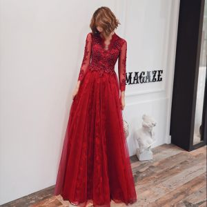 Fashion Red See-through Evening Dresses  2020 A-Line / Princess V-Neck 3/4 Sleeve Appliques Lace Beading Floor-Length / Long Backless Formal Dresses