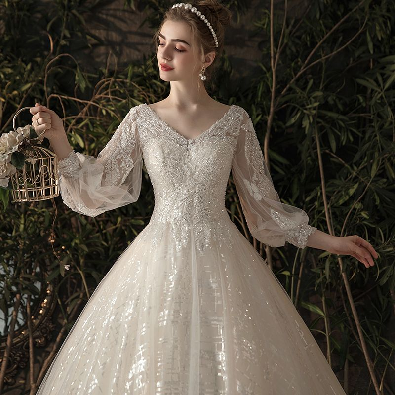 Bling Bling Champagne See-through Wedding Dresses 2019 A-Line / Princess V-Neck Puffy 3/4 Sleeve Backless Sequins Beading Glitter Tulle Chapel Train Ruffle