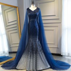 Sparkly Navy Blue Sequins Evening Dresses  2019 Trumpet / Mermaid V-Neck Sleeveless Watteau Train Formal Dresses