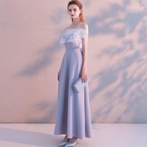 Elegante Lavendel Avondjurken 2019 A lijn Uit De Schouder Kant Korte Mouwen Ruglooze Lange Gelegenheid Jurken