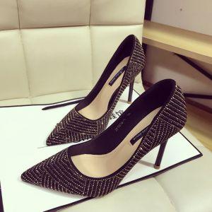 Scintillantes Noire Doré Soirée Chaussures Femmes 2018 Faux Diamant 10 cm Talons Aiguilles À Bout Pointu Escarpins