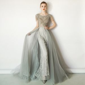 Luxury / Gorgeous Grey Evening Dresses  2019 A-Line / Princess Scoop Neck Handmade  Beading Tassel Sequins Short Sleeve Sweep Train Formal Dresses