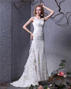 Juwel Perle Bodenlange Spitze Mantel Brautkleid